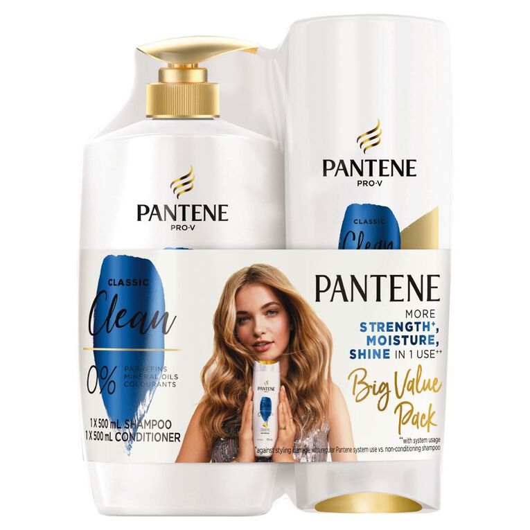 Pantene Classic Clean 500ml Shampoo and Conditioner Bundle, , hi-res