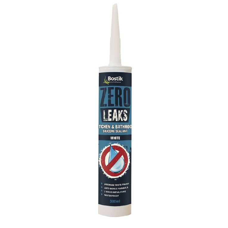 Bostik Zero Leaks Kitchen & Bathroom Silicone Sealant Cartridge 300ml, , hi-res