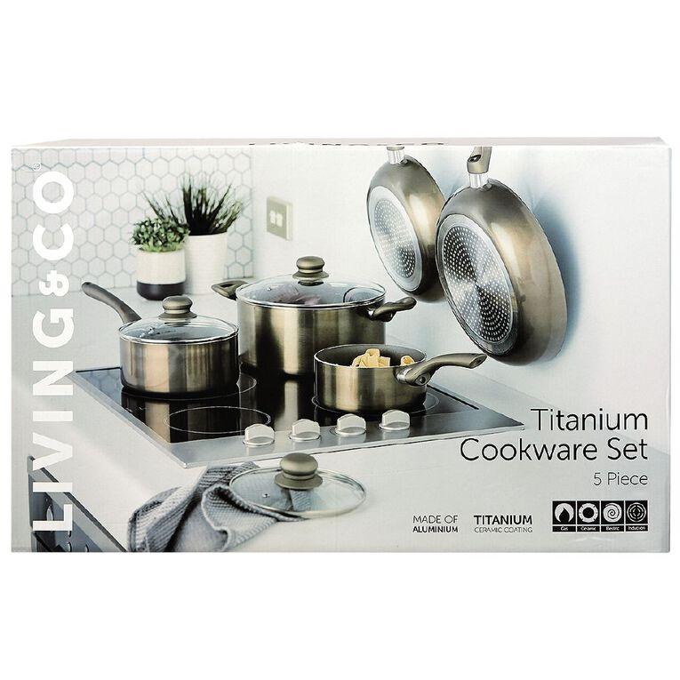 Living & Co Titanium Cookware Set Bronze 5 Pack, , hi-res