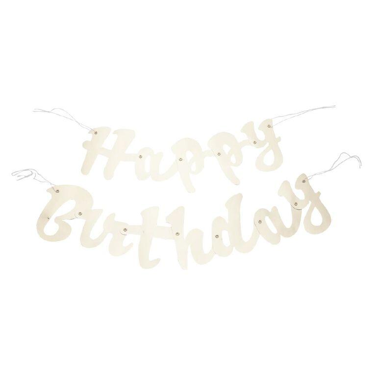 Unique Happy Birthday Foil Script Jointed Banner Gold 1.6m, , hi-res