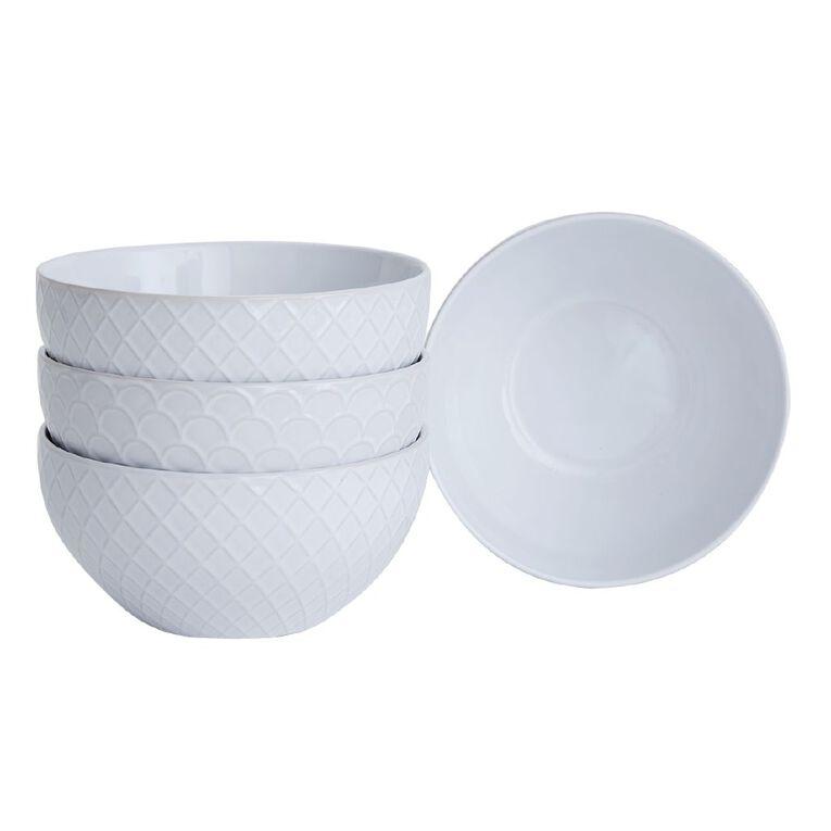 Living & Co Alabaster Textured Glazed Bowls 4 Pack, , hi-res
