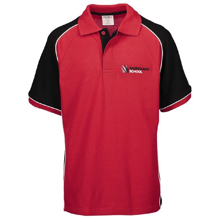 Schooltex Marshland Short Sleeve Polo with Embroidery, Red/Black/White, hi-res