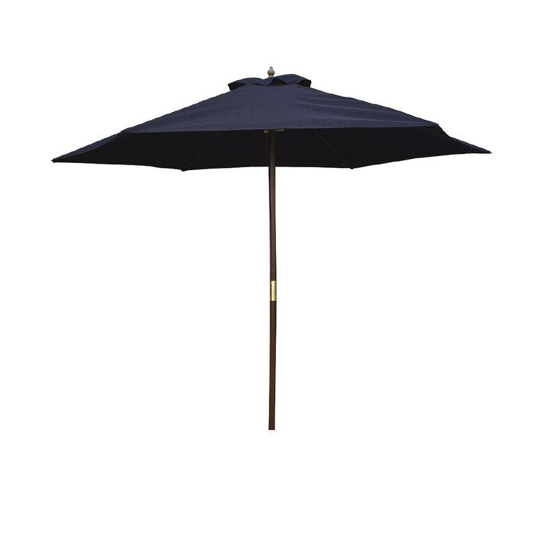 Living & Co Market Wood Umbrella Black 2.5m, , hi-res