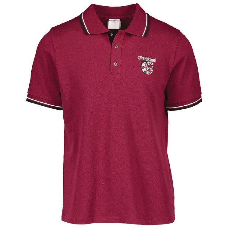 Schooltex Sylvia Park Short Sleeve Polo with Embroidery, Burgundy, hi-res