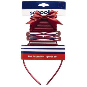 Schooltex Hair Accessories Set 15 Piece Set Burgundy