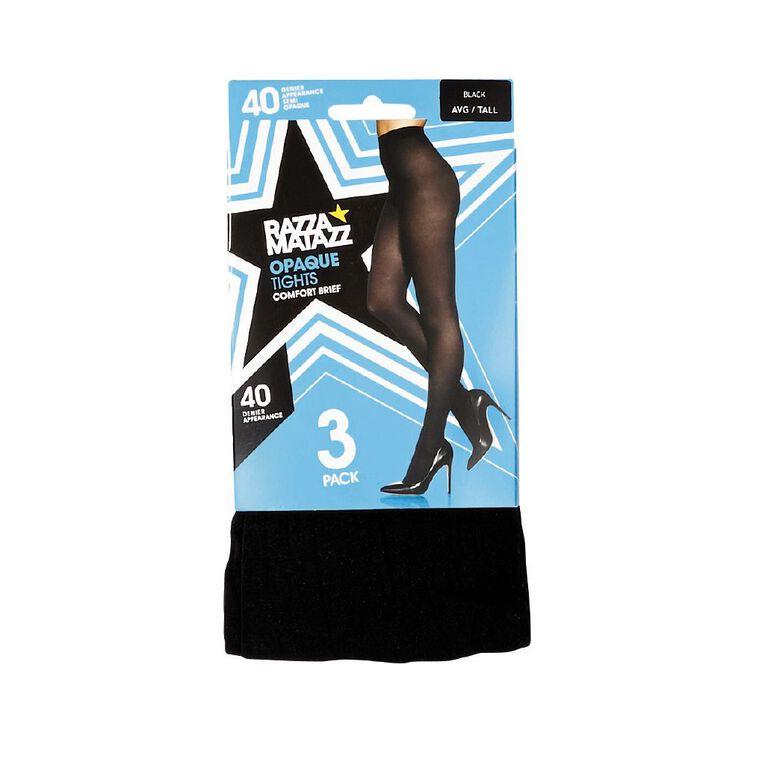 Razzamatazz Lightweight 40D Opaque Tights 3 Pack, Black, hi-res