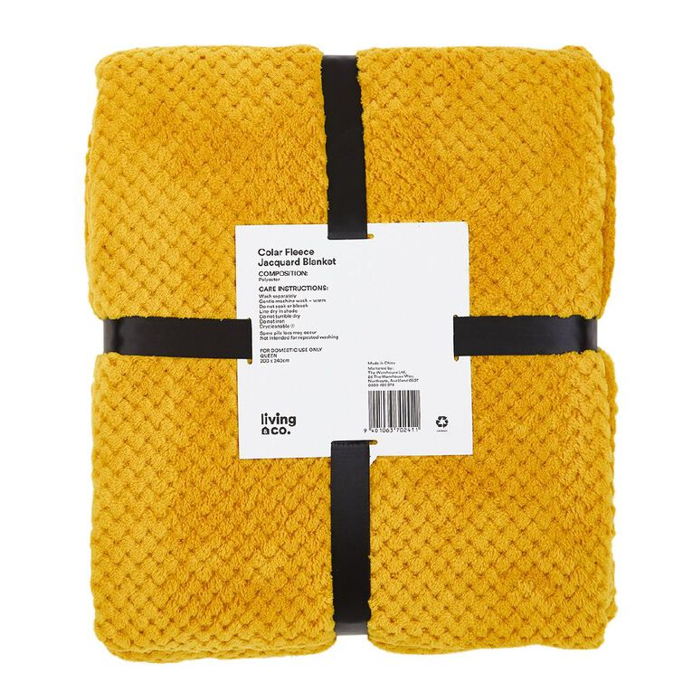 Living & Co Blanket Coral Fleece Jacquard Manuka Yellow Queen, , hi-res