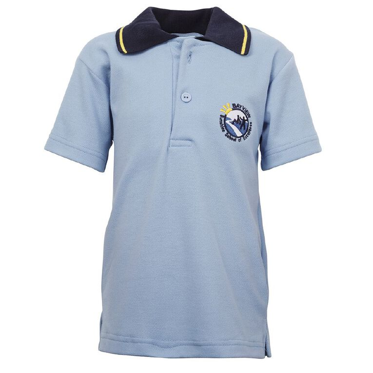 Schooltex Bayview School Polo with Embroidery, Sky Navy, hi-res