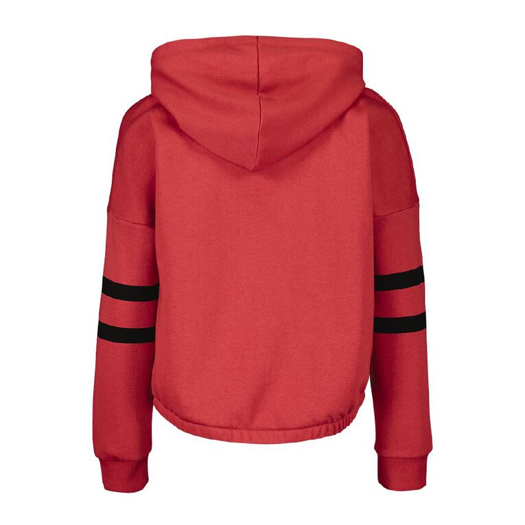 Young Original Cropped Hooded Splice Sweatshirt, Red Mid, hi-res