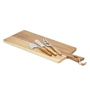 Living & Co Acacia Paddle Board Cheese Knife Set 4 Piece 42.5cm x 19.7cm