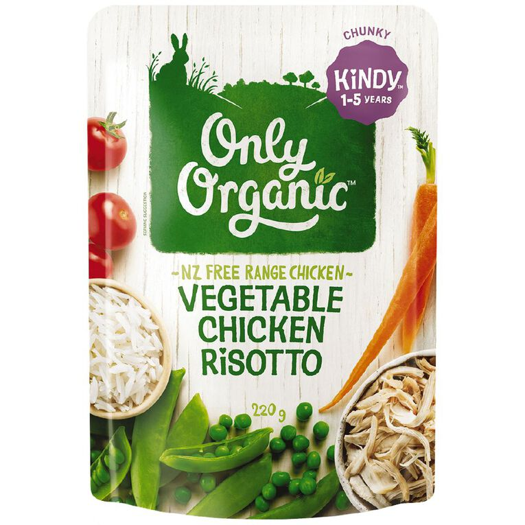 Only Organic Kindy Vegetable & Chicken Risotto Pouch 220g, , hi-res