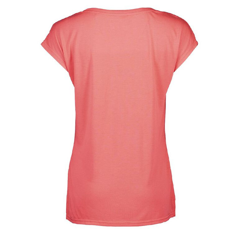 Active Intent Women's Placement Print Extended Shoulder Tee, Pink Mid, hi-res