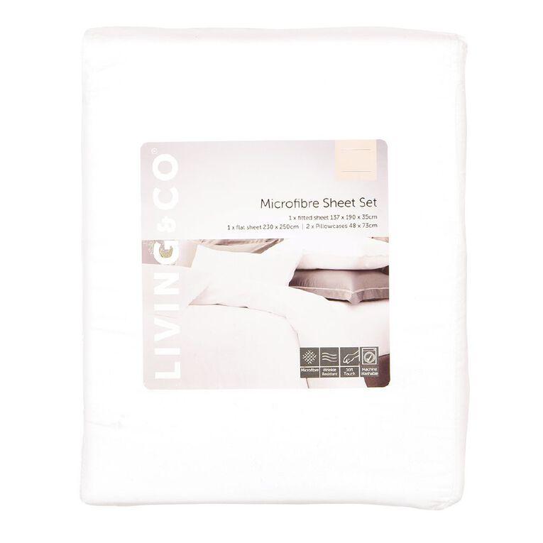 Living & Co Sheet Set Microfibre White Queen, White, hi-res