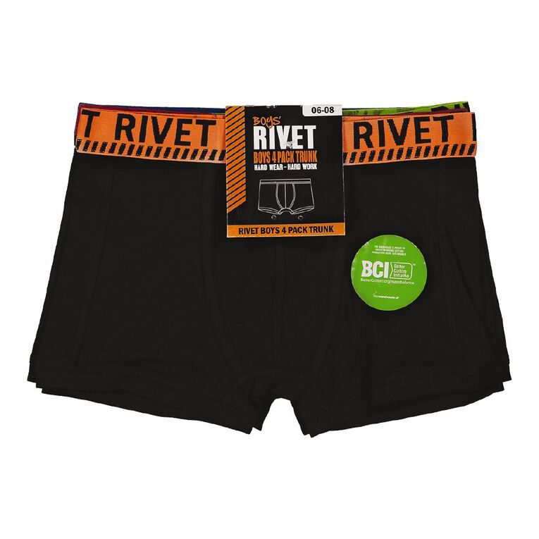 Rivet Boys' Trunks 4 Pack, Black, hi-res