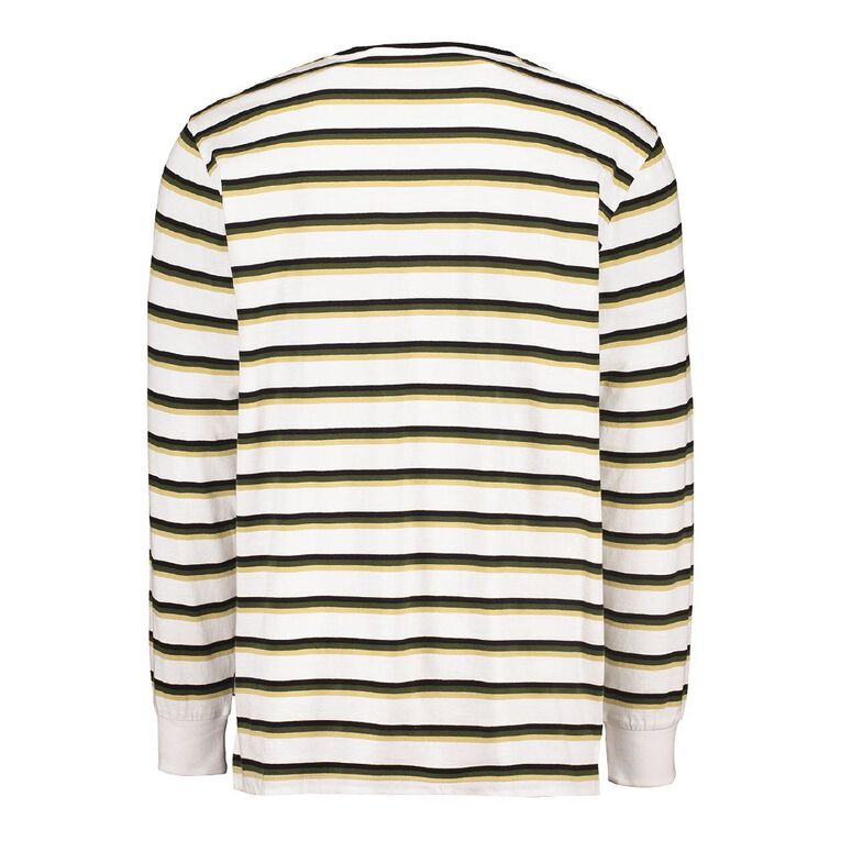 Garage Men's Long Sleeve Striped Tee, White, hi-res