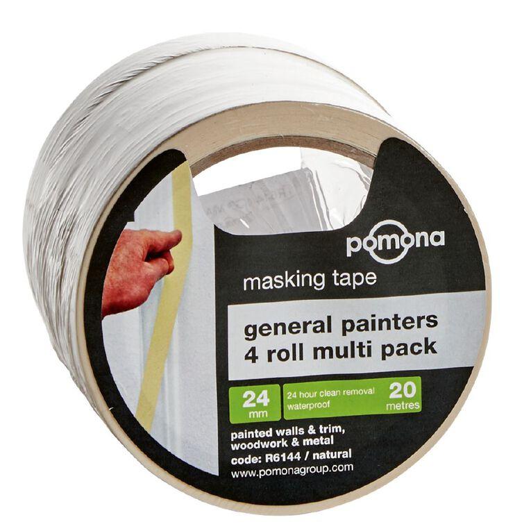 Pomona General Purpose Masking Tape 24mm x 20m White 4 Pack, , hi-res