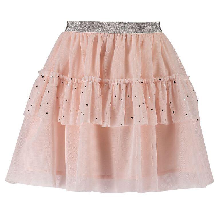 Young Original Tiered Sequin Skirt, Pink Light, hi-res