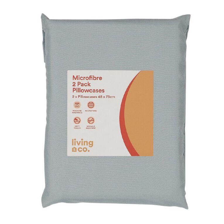 Living & Co Pillowcase Standard Microfibre 2 Piece Aqua 48cm x 73cm, Aqua, hi-res