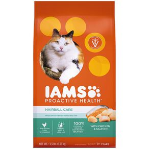 Iams Hairball Care Adult Dry Cat Food with Chicken & Salmon 1.59kg Bag