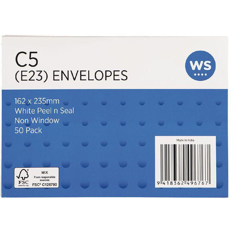 WS Envelope E23/C5 Peel & Seal 50 Pack, , hi-res