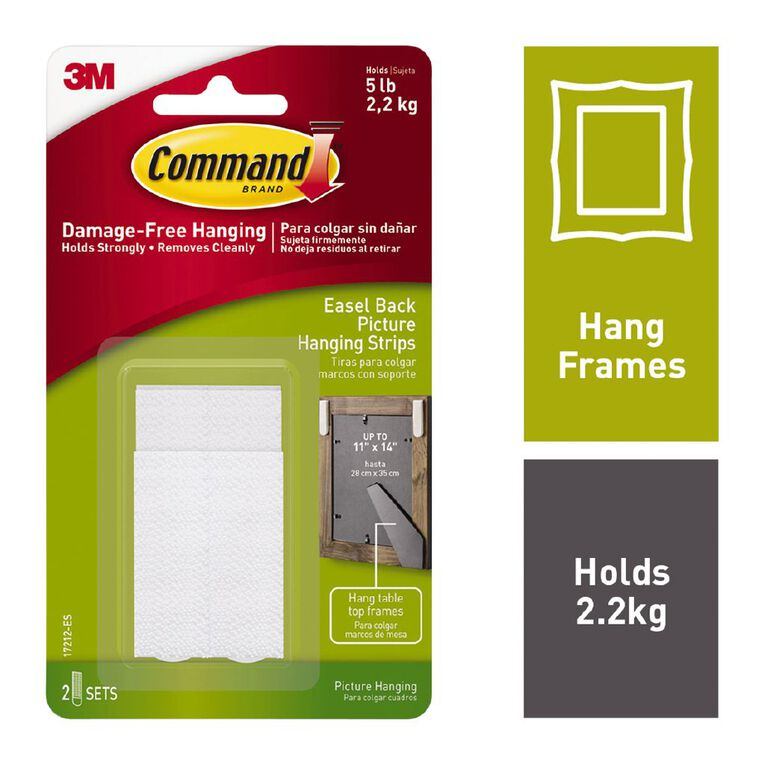 Command Easel Backed Picture Hanging Strips White, , hi-res
