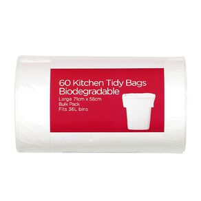 Necessities Brand Biodegradable KitchenTidy Bulky Flat Top L 60 Pack