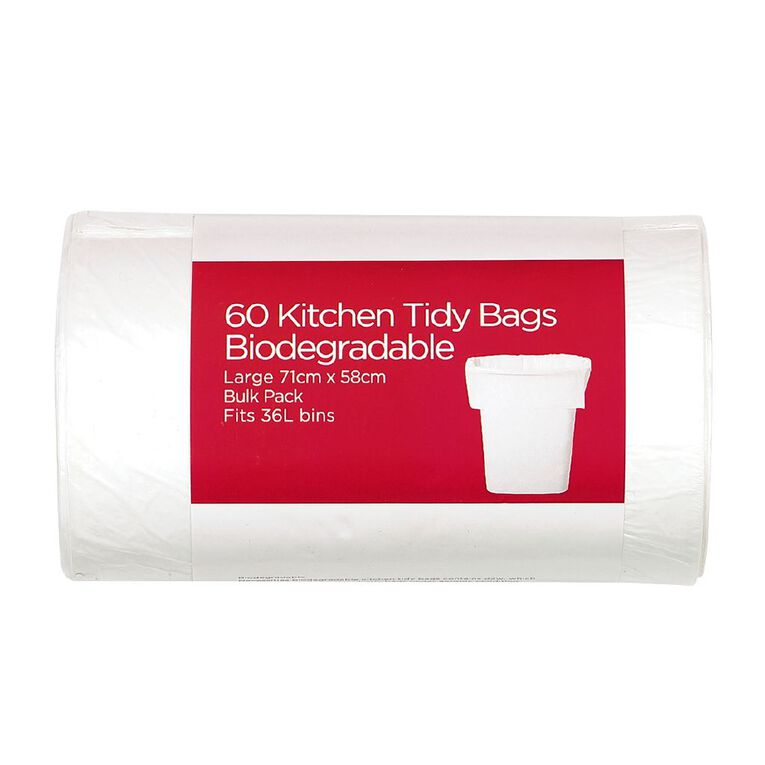 Necessities Brand Biodegradable KitchenTidy Bulky Flat Top L 60 Pack, , hi-res