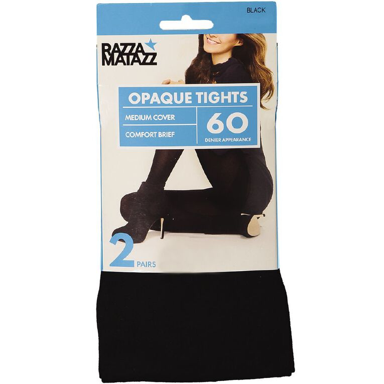 Razzamatazz Women's 60D Opaque Comfort Tights, Black, hi-res