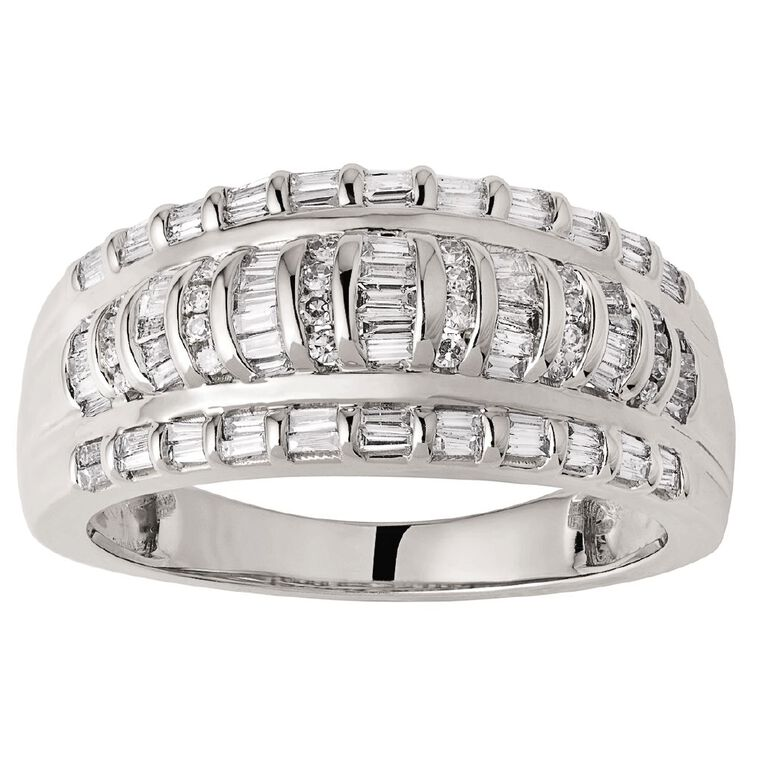 1/2 Carat Diamonds 9ct Gold Baguette Channel Set Ring, White Gold, hi-res image number null
