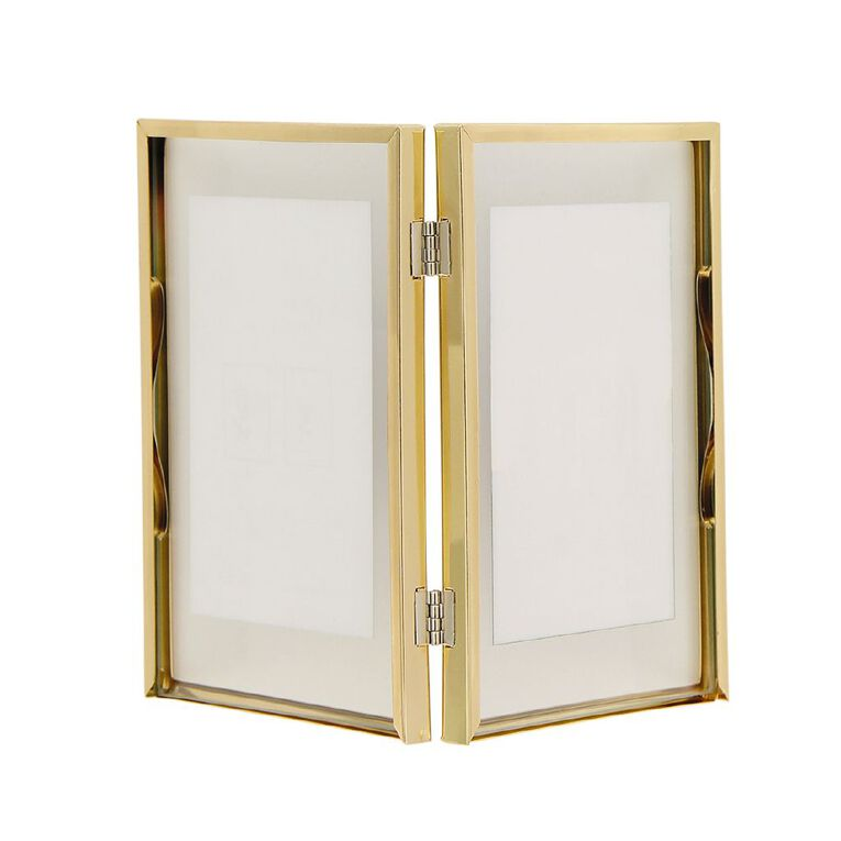 Living & Co Metal Double Photo Frame Gold 4in x 6in, , hi-res