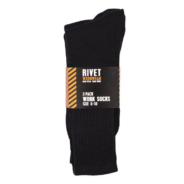 Rivet Men's Work Socks 3 Pack, Navy, hi-res