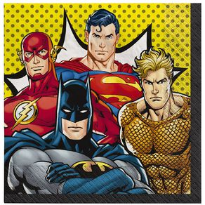 Justice League Heroes Unite Lunch Napkins 16 Pack