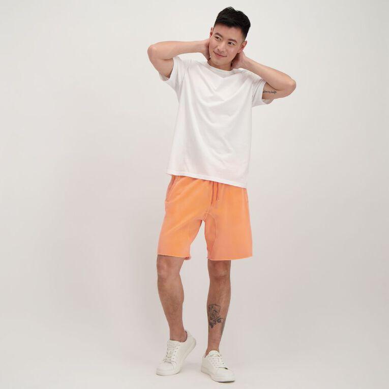 Garage Men's Elastic Waist Raw Hem Acid Shorts, Orange, hi-res