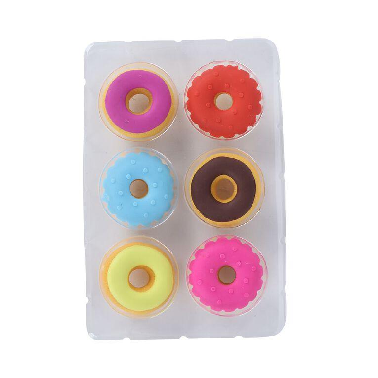 Kookie Novelty Eraser Set Scented 6 Pack Donuts Multi-Coloured, , hi-res