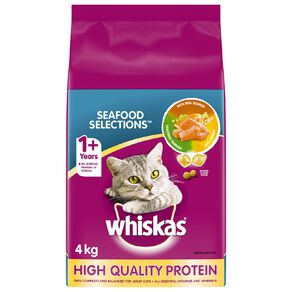 Whiskas Adult Dry Cat Food Seafood Selections 4kg Bag