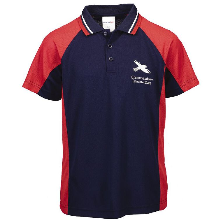 Schooltex Greenmeadows Intermediate Short Sleeve Polo with Embroidery, Red/Navy, hi-res