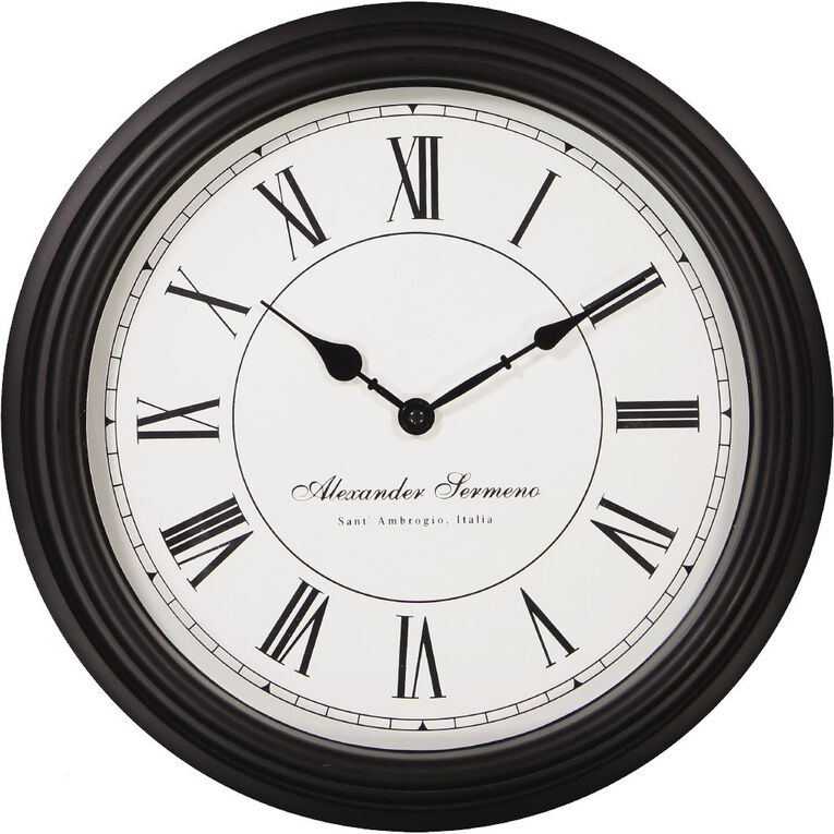 Living & Co Classic Station Clock Black 40cm x 40cm, , hi-res