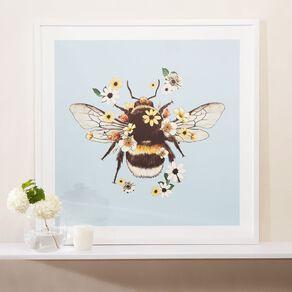Living & Co Bumble Bee Framed print White 80 x 80 x 2.3cm