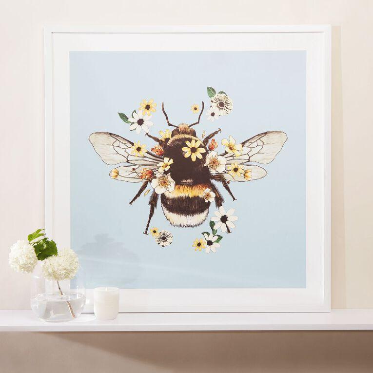 Living & Co Bumble Bee Framed print White 80cm x 80 cm, , hi-res