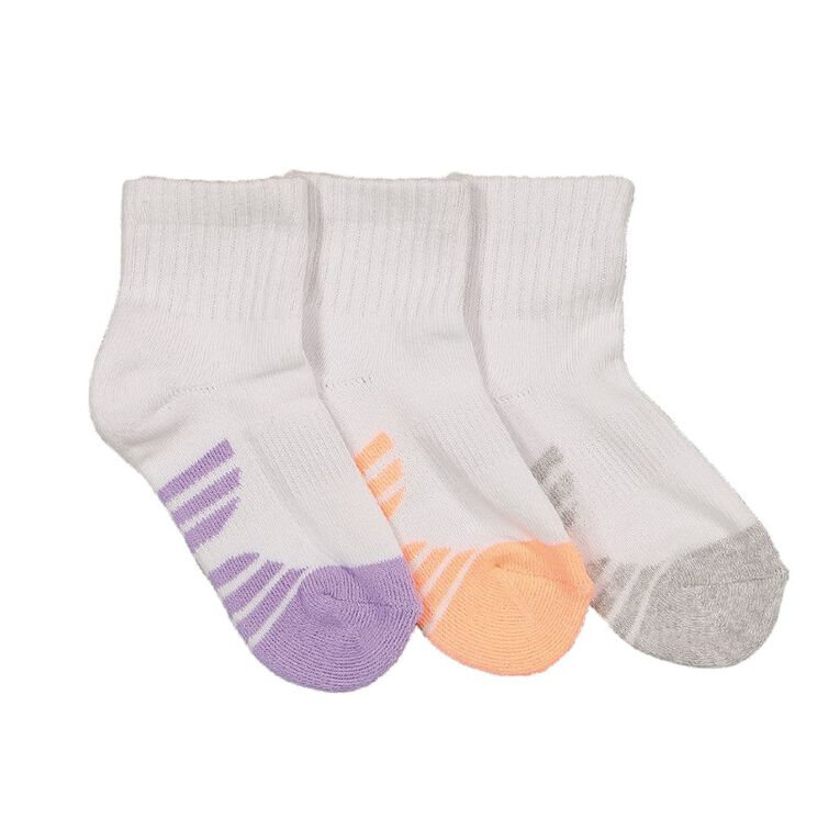 Underworks Kids' Quarter Crew Sport Socks 3 Pack, White, hi-res