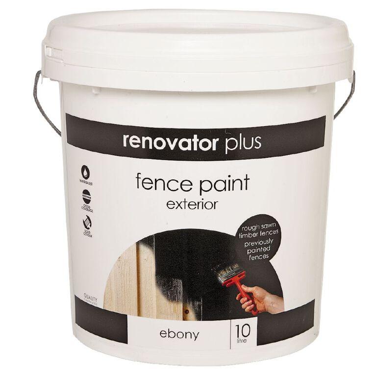 Renovator Plus Fence Paint Ebony 10L, , hi-res