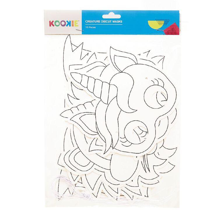 Kookie Educational Diecut Masks White 10 Pack, , hi-res