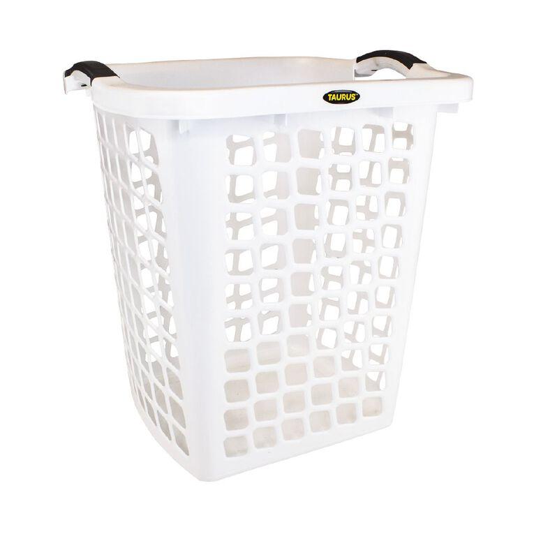 Taurus Laundry Hamper White 60L, , hi-res