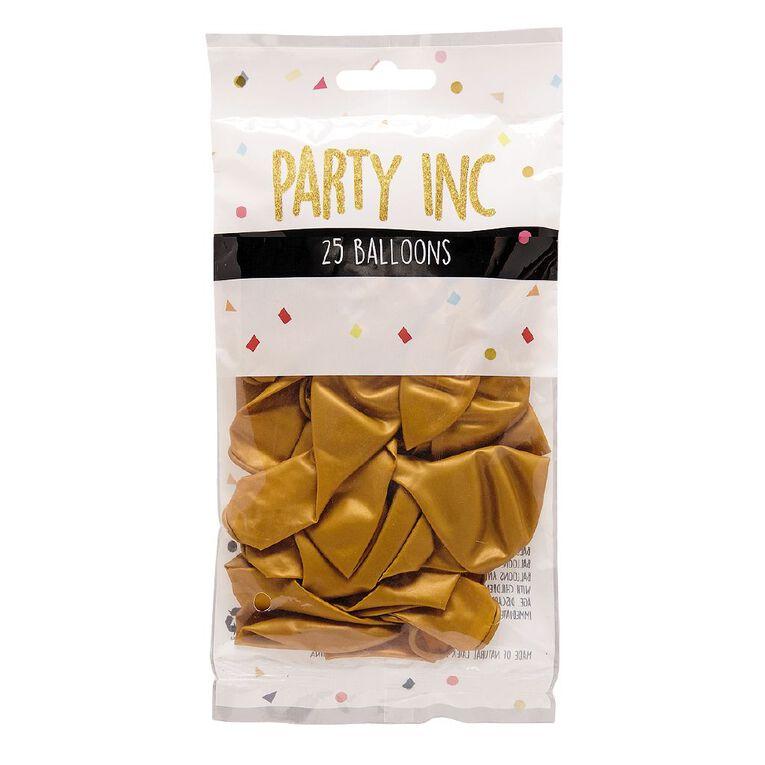 Party Inc Balloons Metallic Gold 25cm 25 Pack, , hi-res