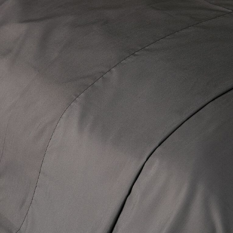 Living & Co Sheet Flat Cotton Rich 270 Thread Count Charcoal Single, Charcoal, hi-res