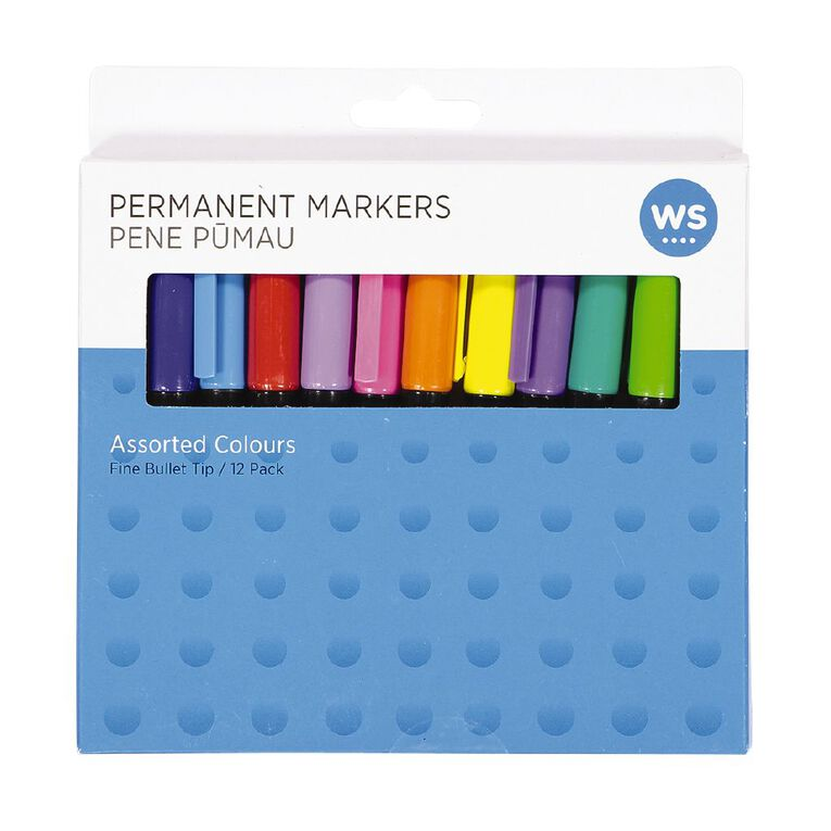 WS Permanent Marker 12 pack Assorted, , hi-res