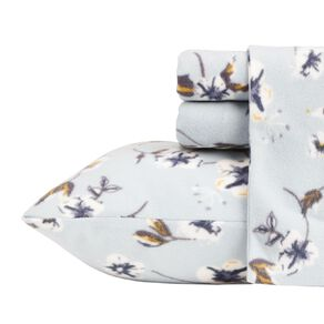 Living & Co Sheet Set Polar Flannel Printed Felicity Blue