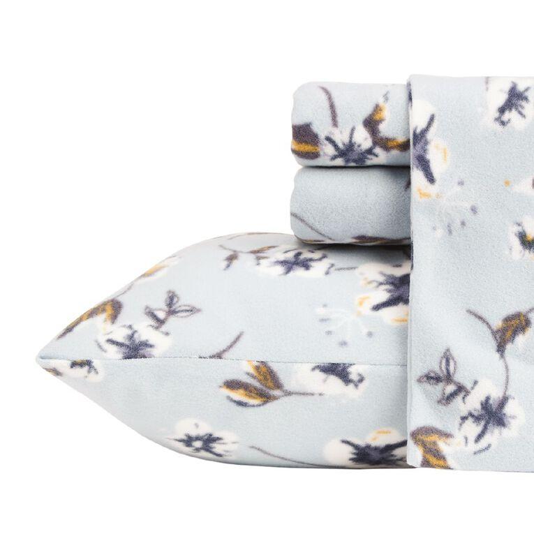 Living & Co Sheet Set Polar Flannel Printed Felicity Blue King, Blue, hi-res