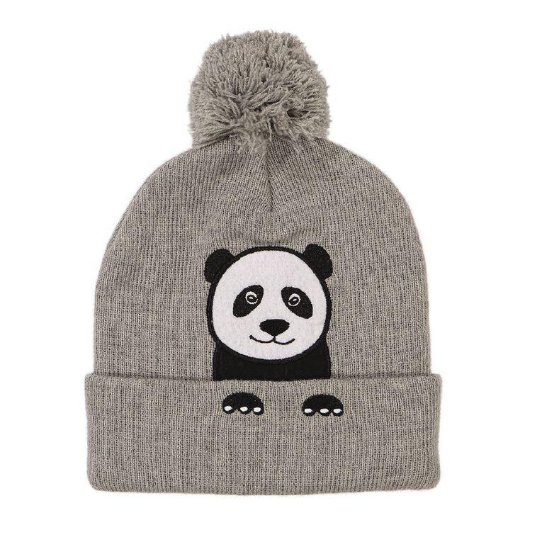 Young Original Kids' Panda Beanie, Grey, hi-res
