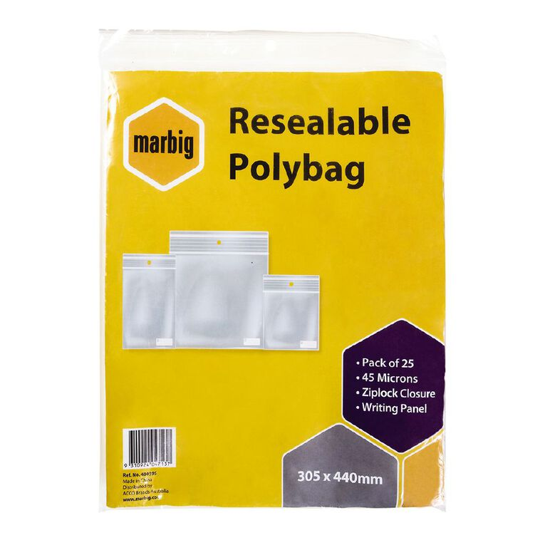 Marbig Resealable Polybags 305x440mm w/writing panel 25Pk, , hi-res